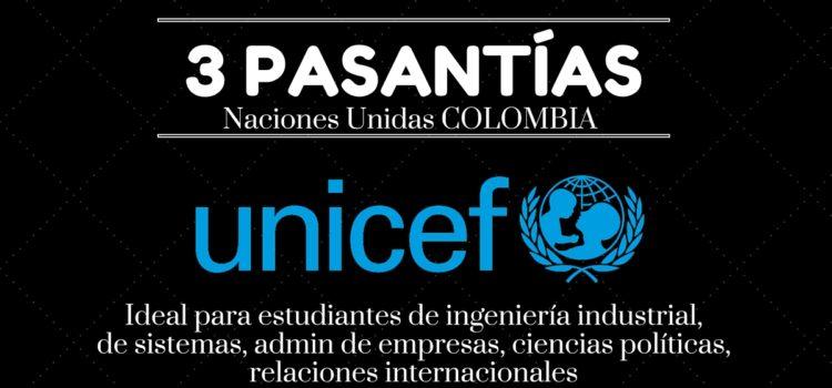 3 pasantías en Unicef Colombia