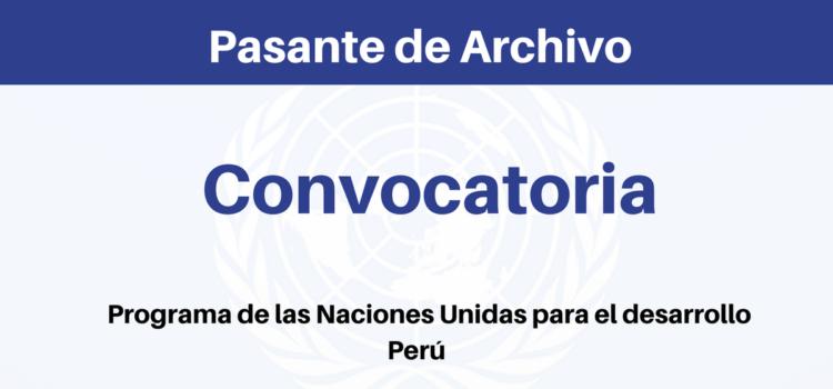 Convocatoria Pasantía con Naciones Unidas Perú
