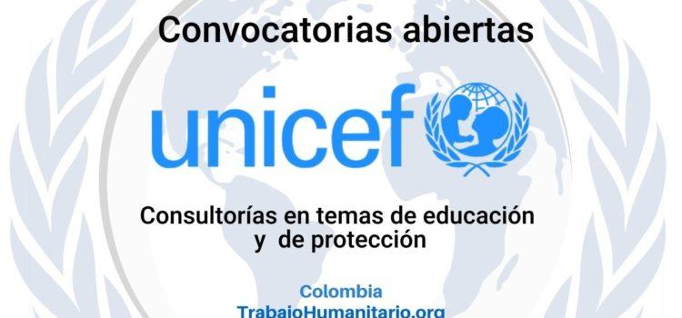 UNICEF abre convocatoria para consultorías en temas de educación y protección